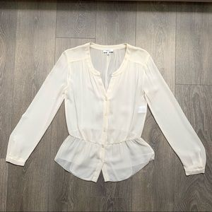 Aritzia Babaton Silk Sheer Blouse Cream Size XS